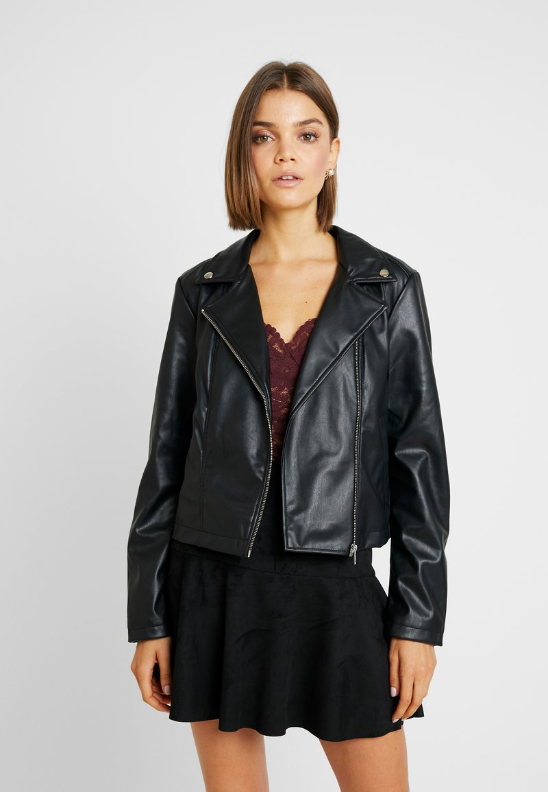 Pieces - PCRIONE BIKER ZIP JACKET - Faux leather jacket - black