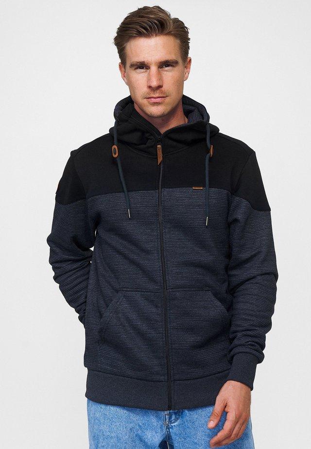 Zip-up hoodie - black / black mel.