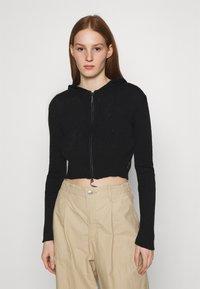 BDG Urban Outfitters - CROPPED ZIP HOODIE - Collegetakki - black - 0