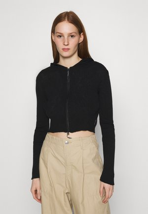 CROPPED ZIP HOODIE - Zip-up hoodie - black