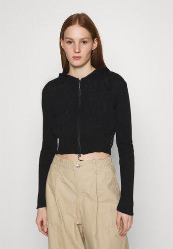 CROPPED ZIP HOODIE - Zip-up hoodie - black