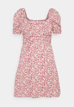 DITSY RUCHED PUFF SLEEVE SKATER DRESS - Jerseykjole - red
