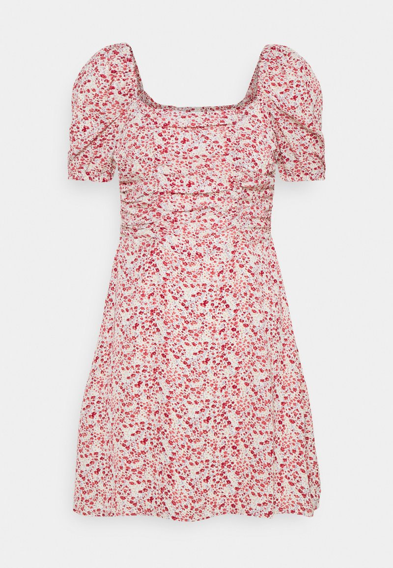 Missguided - DITSY RUCHED PUFF SLEEVE SKATER DRESS - Vestido informal - red
