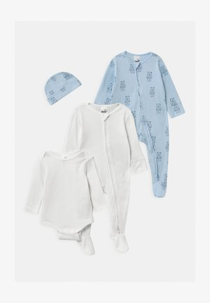 BUNDLE SET UNISEX - Beanie - white/water blue