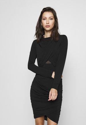 ELLA LONG SLEEVE WRAP BODICE DRESS - Pouzdrové šaty - black