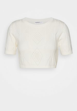 POINTELLE SHORT SLEEVE CROP - Print T-shirt - cream