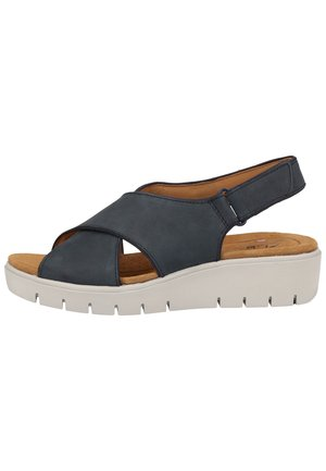 CLARKS SANDALEN - Wedge sandals - navy