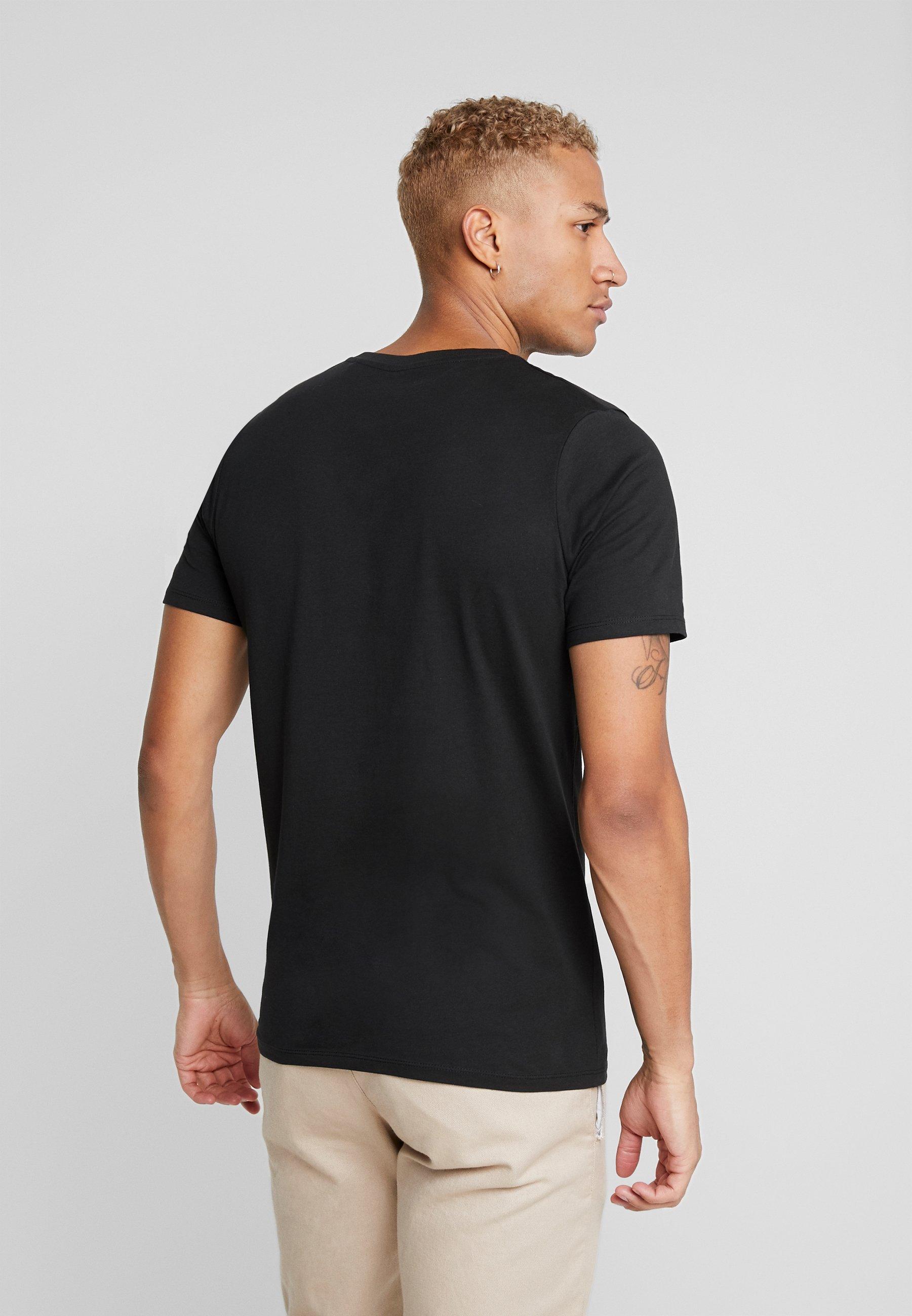 Jack & Jones JJEDENIM LOGO TEE O-NECK - Basic T-shirt - black/white nJzPa