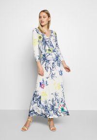 Ivko - VNECK DRESS FLORAL PRINT - Maxi šaty - white - 1