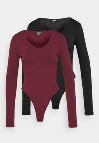 Missguided Tall - LONG SLEEVE BODYSUIT 2 PACK - Longsleeve - black/mauve - 0