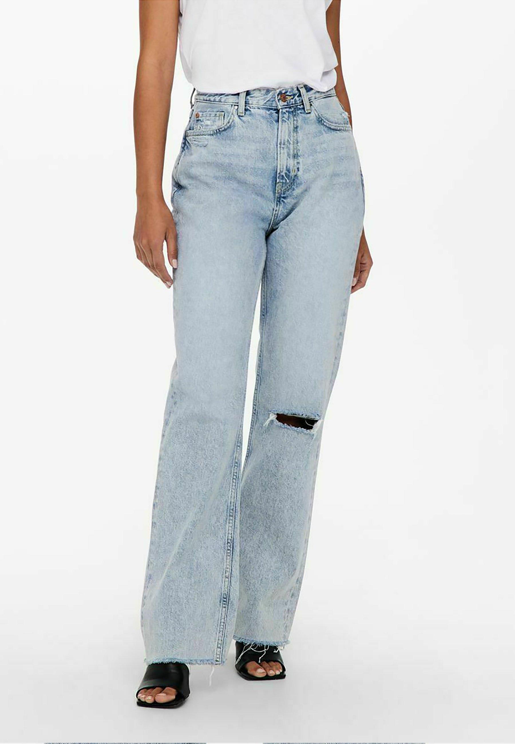 Damer STRAIGHT FIT  JDYDICHTE HW WIDE RAW - Flared jeans