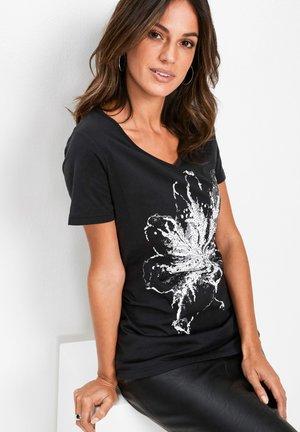 MIT AUFWENDIGER APPLIKATION - T-shirt con stampa - schwarz