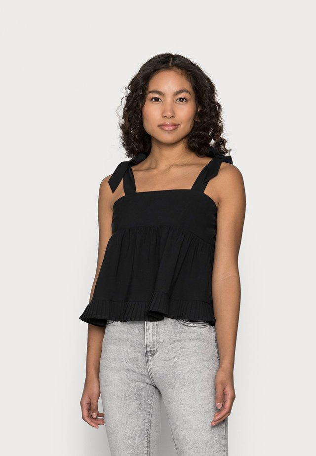 PLEATED HEM DETAIL BOW TIE CAMI - Toppe - black