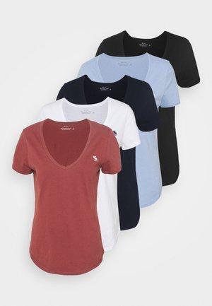 5 PACK - T-shirt - bas - white/brown/lavendar/navy/black