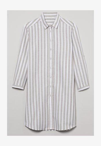 MODERN CLASSIC - Button-down blouse - khaki weiss