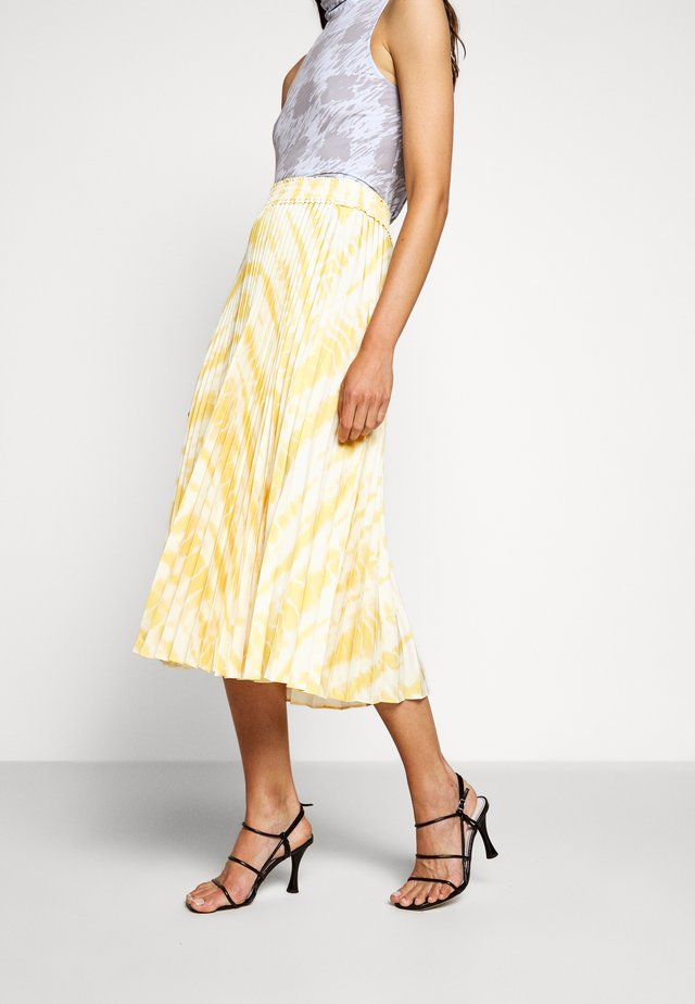 PRINTED PLEATED LONG SKIRT - Jupe trapèze - light yellow