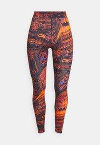 Leggings - Trousers - black/orange