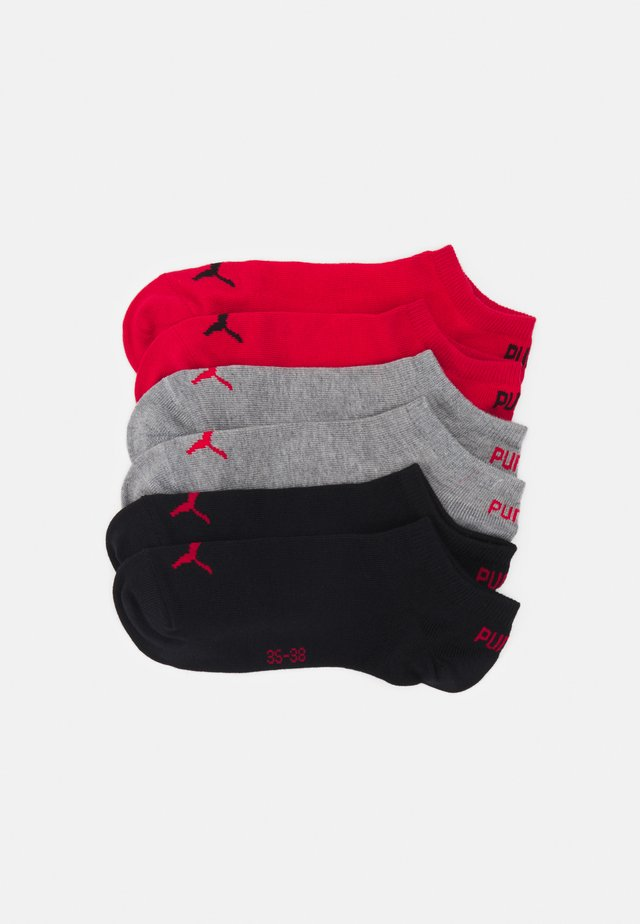 SNEAKER PLAIN 6 PACK UNISEX - Sports socks - grey/black/red combo