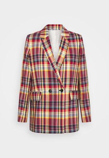 LONGLINE CHECKED - Short coat - lava red