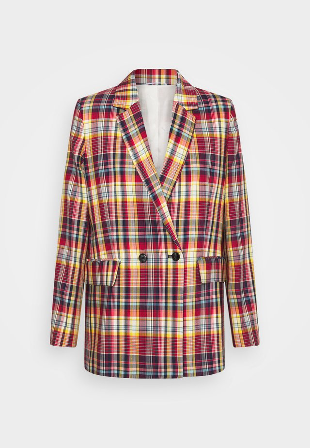 LONGLINE CHECKED - Manteau court - lava red