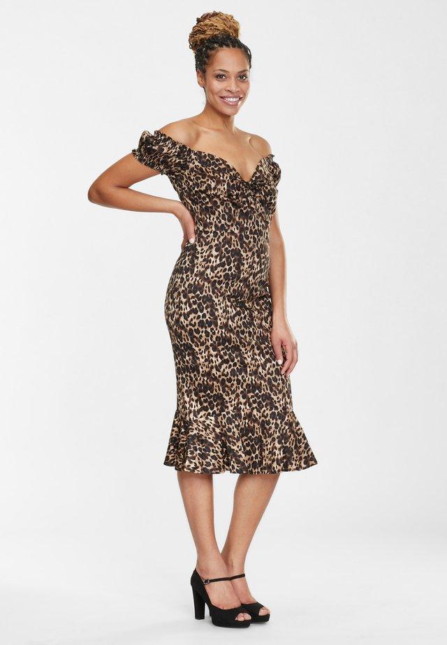 SASHA FISHTAIL - Shift dress - brown/beige/black