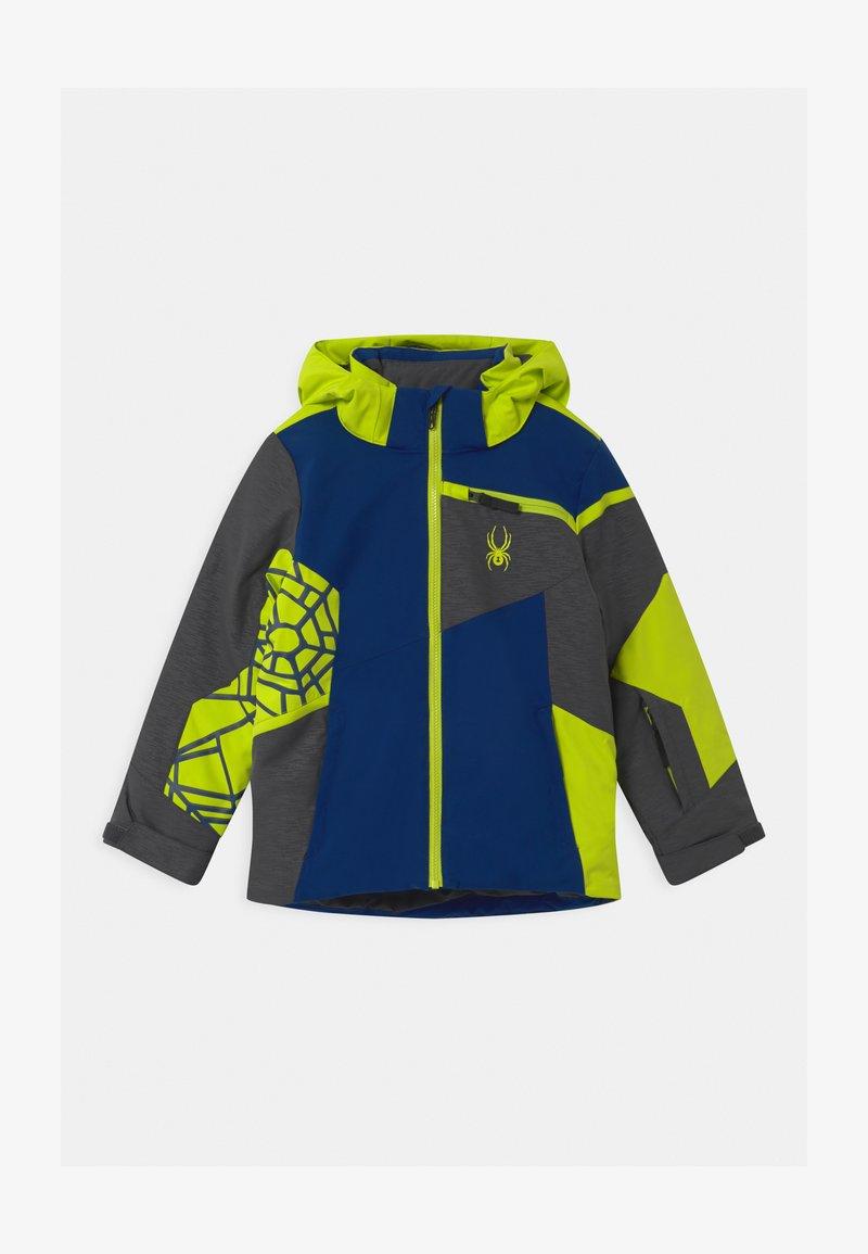 Spyder - CHALLENGER - Ski jacket - dark grey/neon green/blue