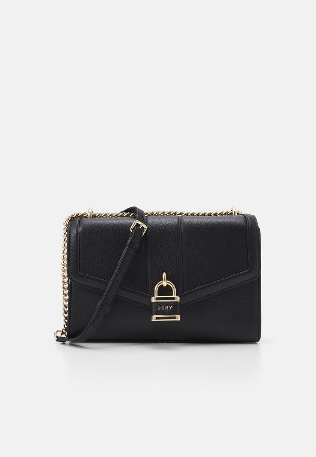 ELLA SHOULDER FLAP PEBBLE - Across body bag - black/gold
