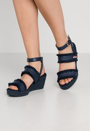 FRINGES MID WEDGE  - Platform sandals - sport navy