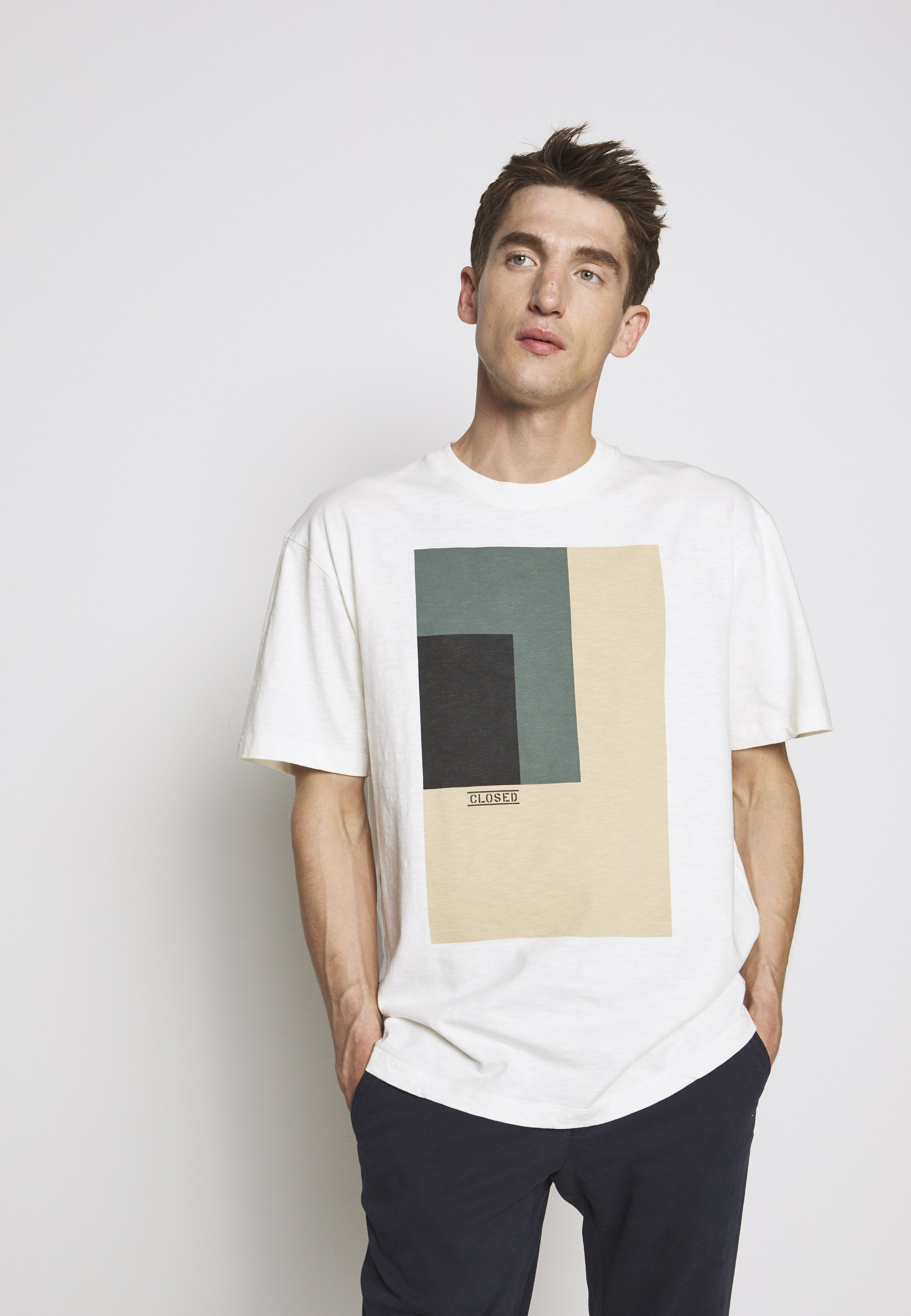 CLOSED MEN´S - Print T-shirt - ivory UXSYQ
