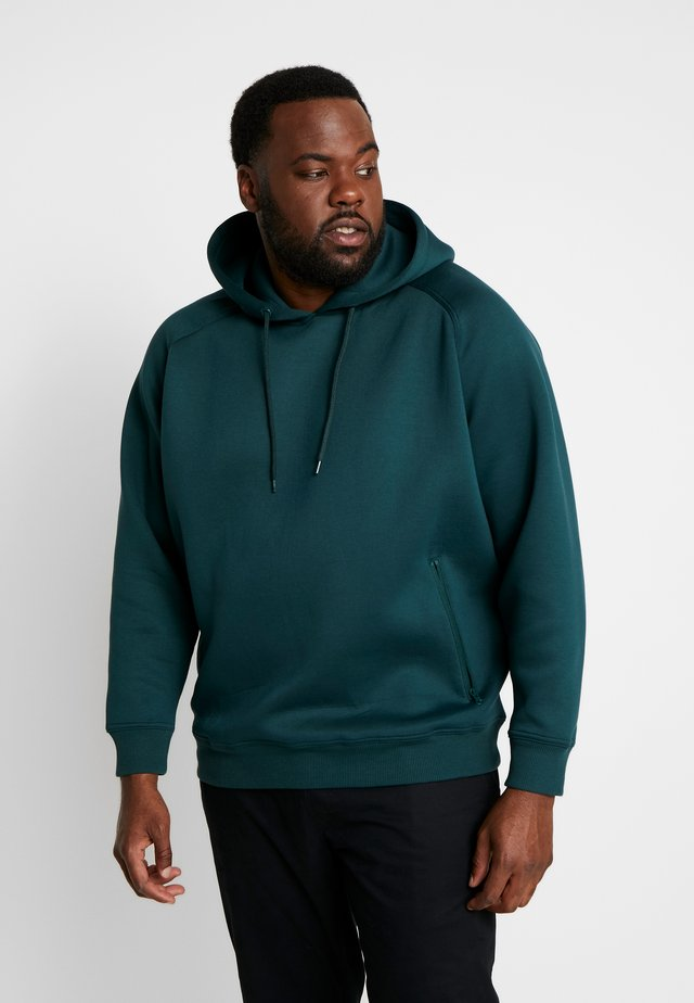 RAGLAN ZIP POCKET HOODY PLUS SIZE - Huppari - bottlegreen