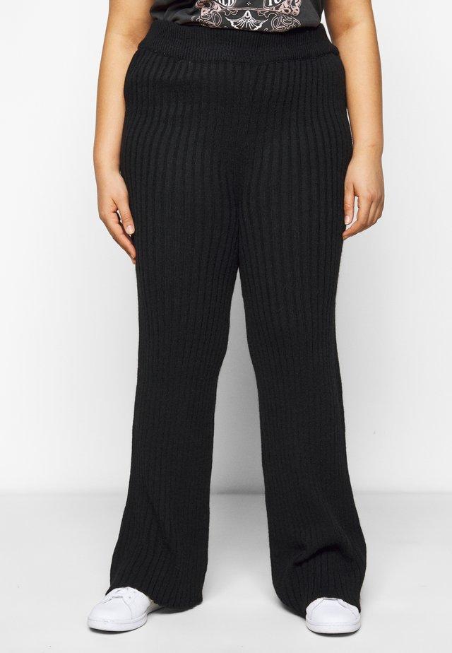 WIDE LEG TROUSER - Pantalon classique - black