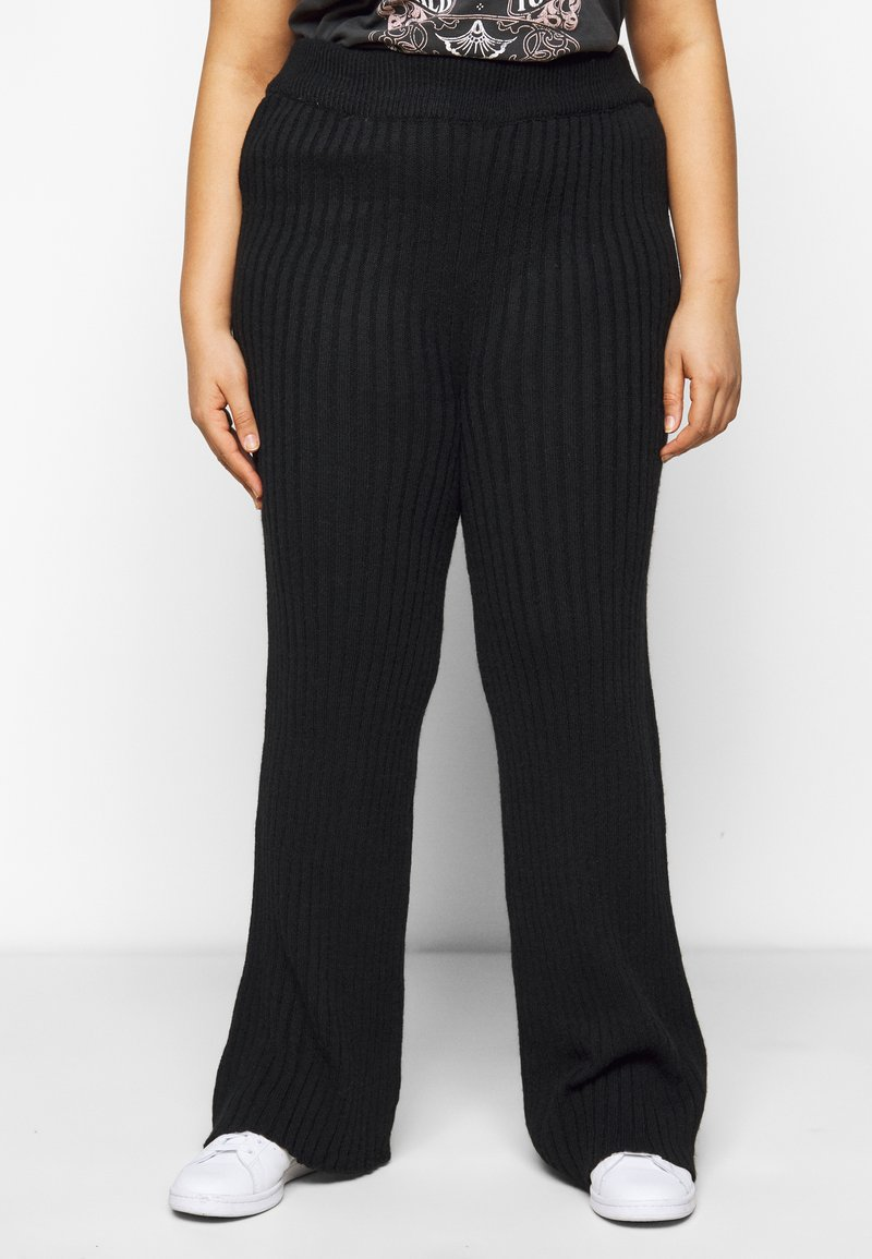 Dorothy Perkins Curve - WIDE LEG TROUSER - Trousers - black