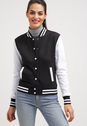 LADIES 2-TONE COLLEGE SWEATJACKET - Summer jacket - black/white
