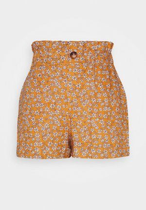 FRILL PAPERBAG SHORTS - Shorts - mustard