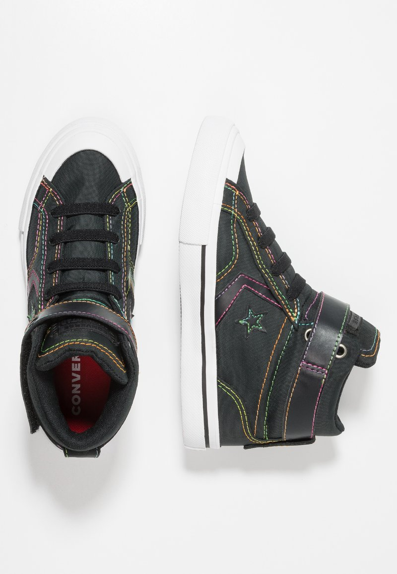 Converse - PRO BLAZE STRAP RAINBOW STITCH - High-top trainers - black/enamel red/rainbow
