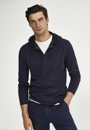 MIT KAPUZE  - Polo shirt - blue-black denim