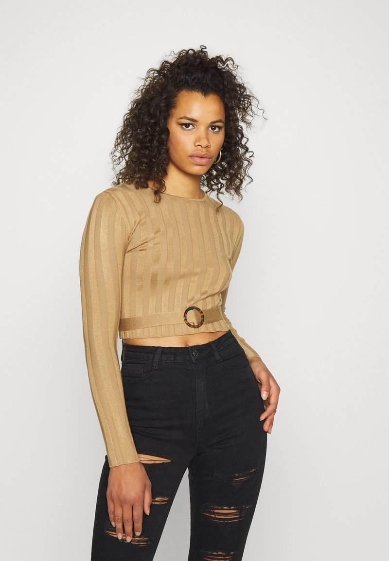 Missguided Tall - SHELL LONG SLEEVE - Jumper - brown