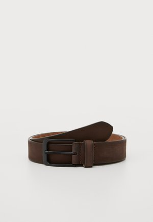 LEATHER - Belt - dark brown