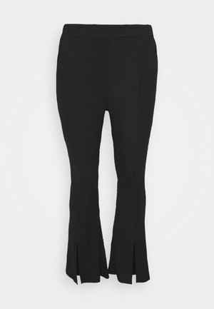 WAFFLE TEXTURED FRONT SPLIT FLARED TROUSERS - Bukse - black