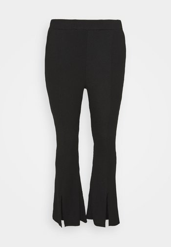 WAFFLE TEXTURED FRONT SPLIT FLARED TROUSERS - Trousers - black