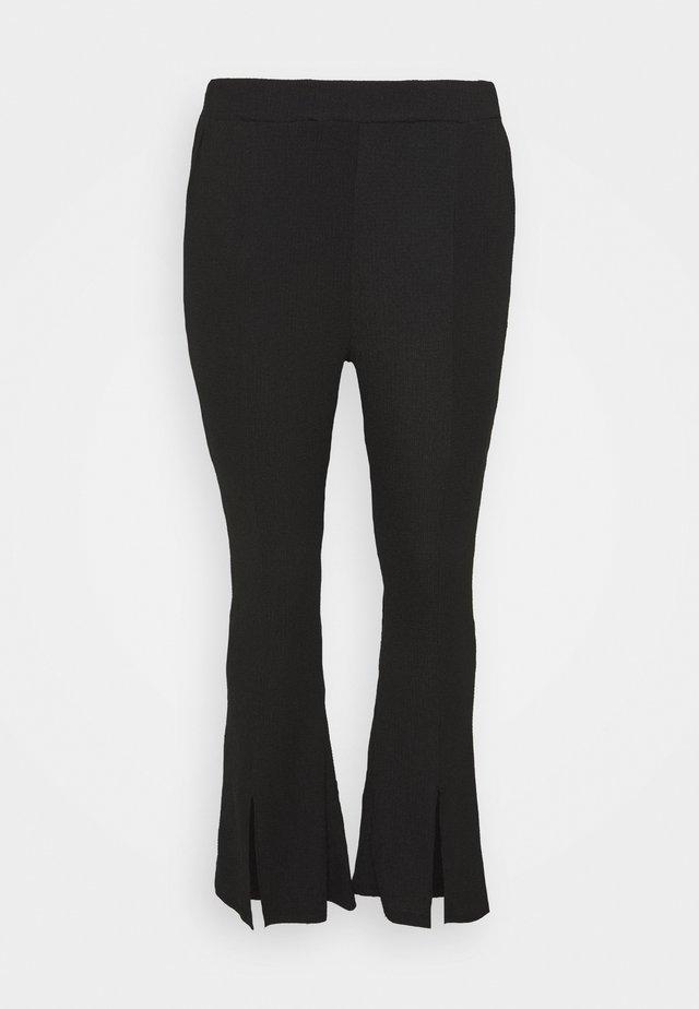 WAFFLE TEXTURED FRONT SPLIT FLARED TROUSERS - Pantalon classique - black