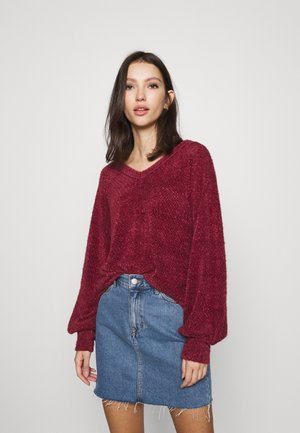 EYELASH VNECK  - Jumper - burgundy