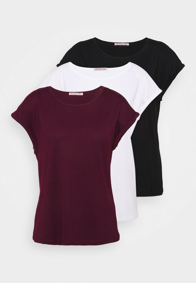 3 PACK - T-shirt basic - black/white/dark red