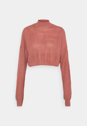 HIGH NECK CROP JUMPER - Jumper - pink