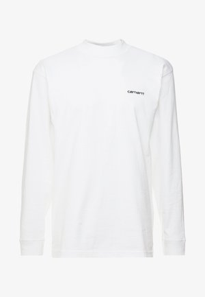 MOCKNECK SCRIPT EMBROIDERY - Long sleeved top - white/black