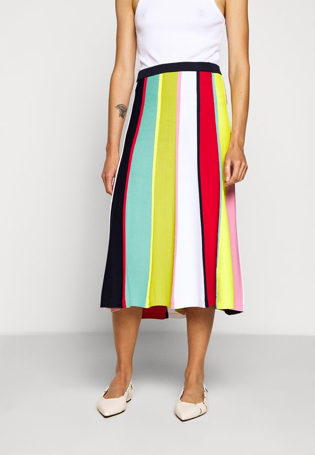 RAINBOW STRIPE SKIRT - Jupe trapèze - navy/bohemian rose/multi