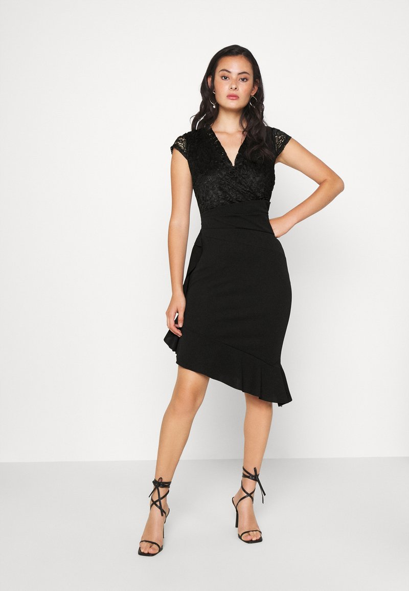 WAL G. SIDE FRILL DETAIL MIDI DRESS - Cocktailkleid/festliches Kleid - black/schwarz G3uqqf