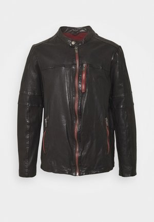 NEW - Leather jacket - black coffee