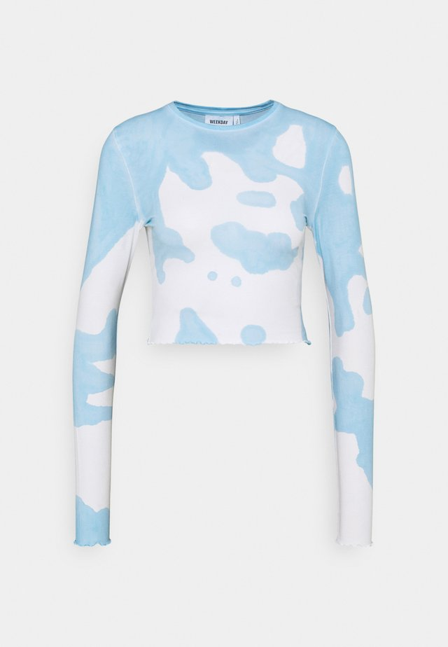 SENA TIE DYE LONG SLEEVE - T-shirt à manches longues - blue with white