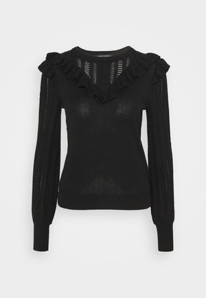 RUFFLE V NECK - Strikkegenser - black